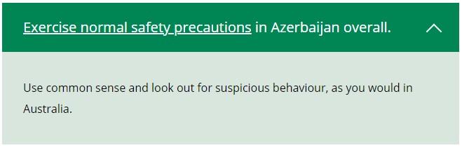 Coronavirus status for travellers to Azerbaijan